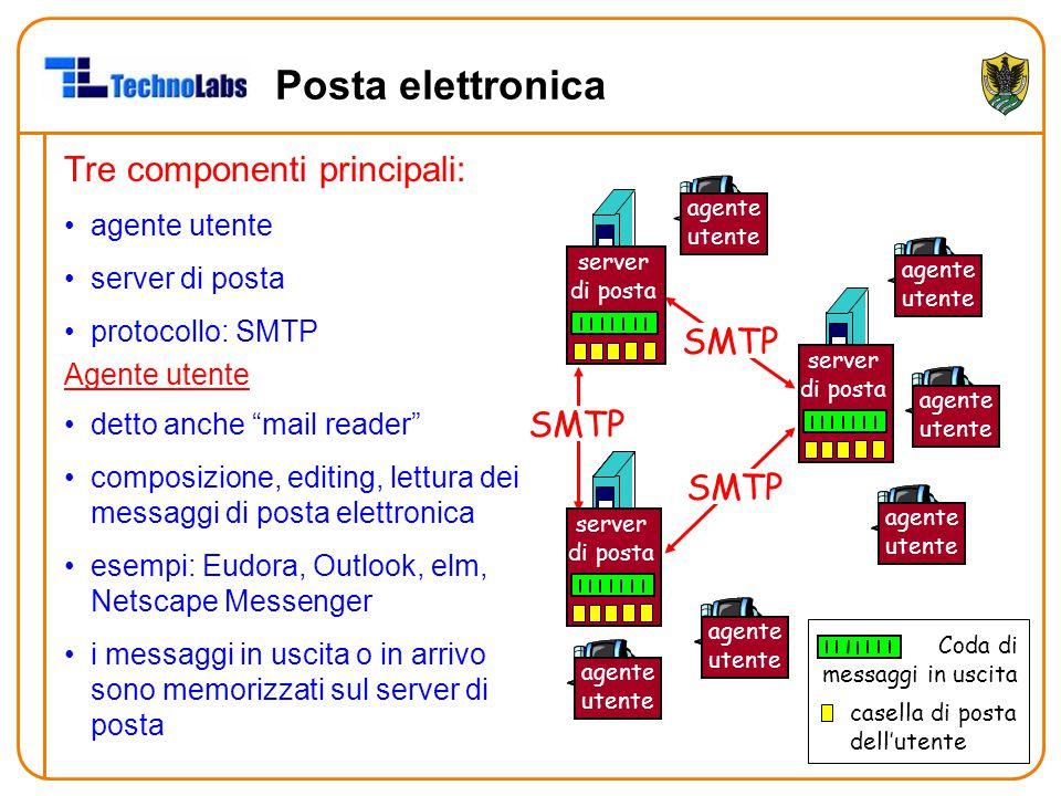 """Posta elettronica Tre componenti principali: agente utente server di posta protocollo: SMTP Agente utente detto anche """"mail reader"""" composizione, edit"""