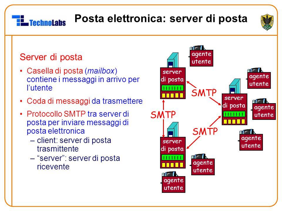 Posta elettronica: server di posta Server di posta Casella di posta (mailbox) contiene i messaggi in arrivo per l'utente Coda di messaggi da trasmette