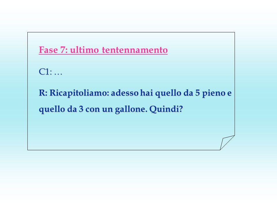 Fase 7: ultimo tentennamento C1: … R: Ricapitoliamo: adesso hai quello da 5 pieno e quello da 3 con un gallone. Quindi?