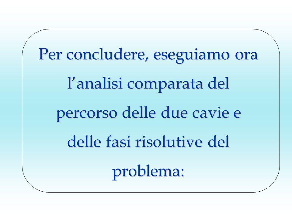 Per concludere, eseguiamo ora l'analisi comparata del percorso delle due cavie e delle fasi risolutive del problema: