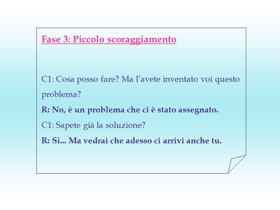 Fase 3: Piccolo scoraggiamento C1: Cosa posso fare? Ma l'avete inventato voi questo problema? R: No, è un problema che ci è stato assegnato. C1: Sapet