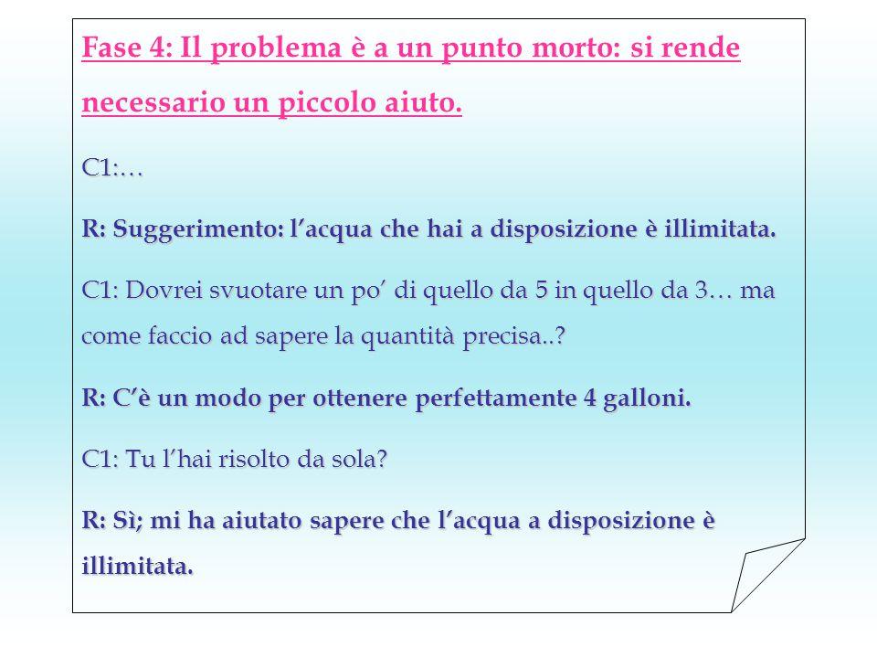 Fase 4: Il problema è a un punto morto: si rende necessario un piccolo aiuto.C1:… R: Suggerimento: l'acqua che hai a disposizione è illimitata.