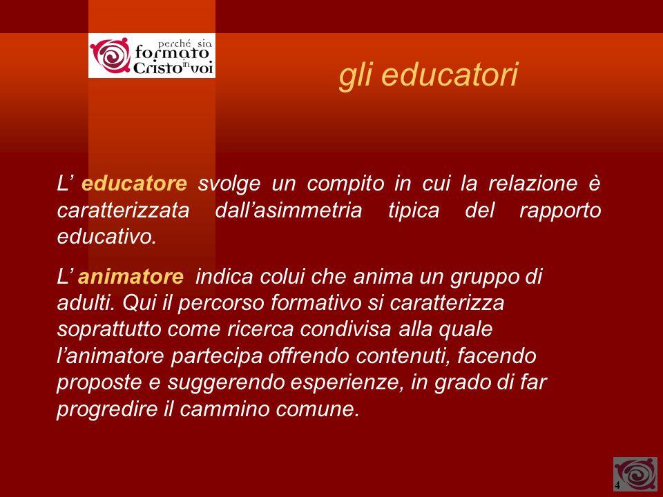 4 gli educatori L' educatore svolge un compito in cui la relazione è caratterizzata dall'asimmetria tipica del rapporto educativo. L' animatore indica