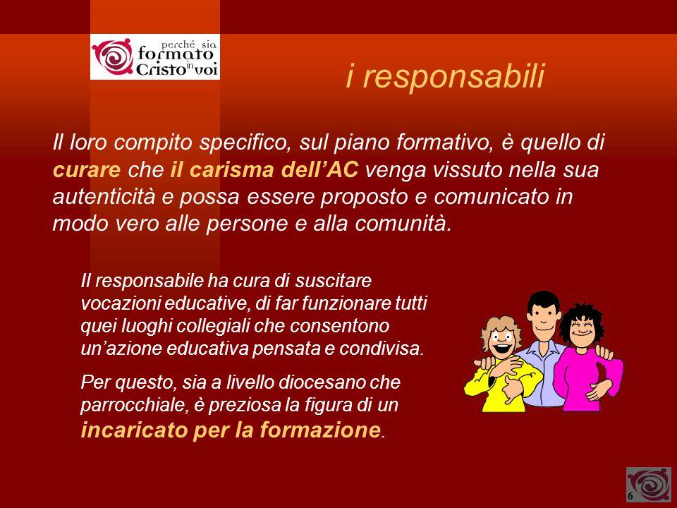 6 i responsabili Il loro compito specifico, sul piano formativo, è quello di curare che il carisma dell'AC venga vissuto nella sua autenticità e possa essere proposto e comunicato in modo vero alle persone e alla comunità.