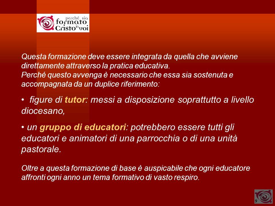 9 Questa formazione deve essere integrata da quella che avviene direttamente attraverso la pratica educativa.