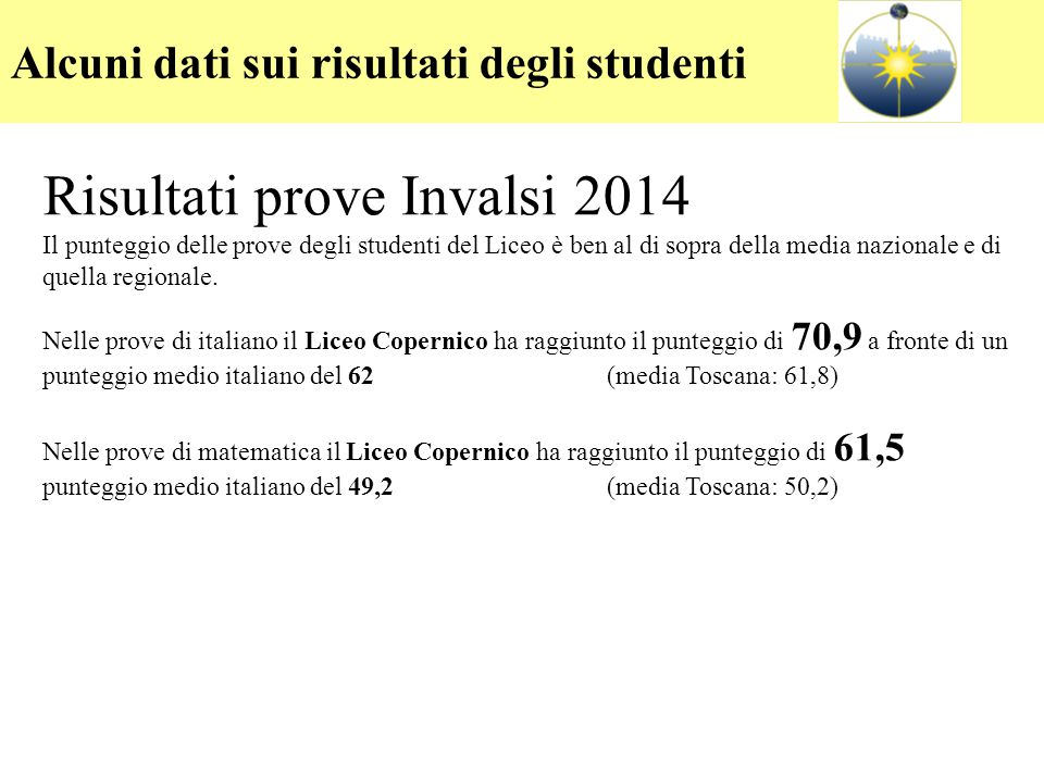 Risultati delle prove INVALSI 2012-13 Risultati prove Invalsi 2014 Il punteggio delle prove degli studenti del Liceo è ben al di sopra della media naz