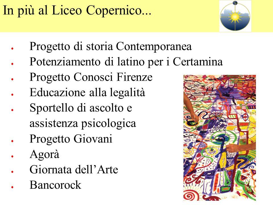 In più al Liceo Copernico...  Progetto di storia Contemporanea  Potenziamento di latino per i Certamina  Progetto Conosci Firenze  Educazione alla