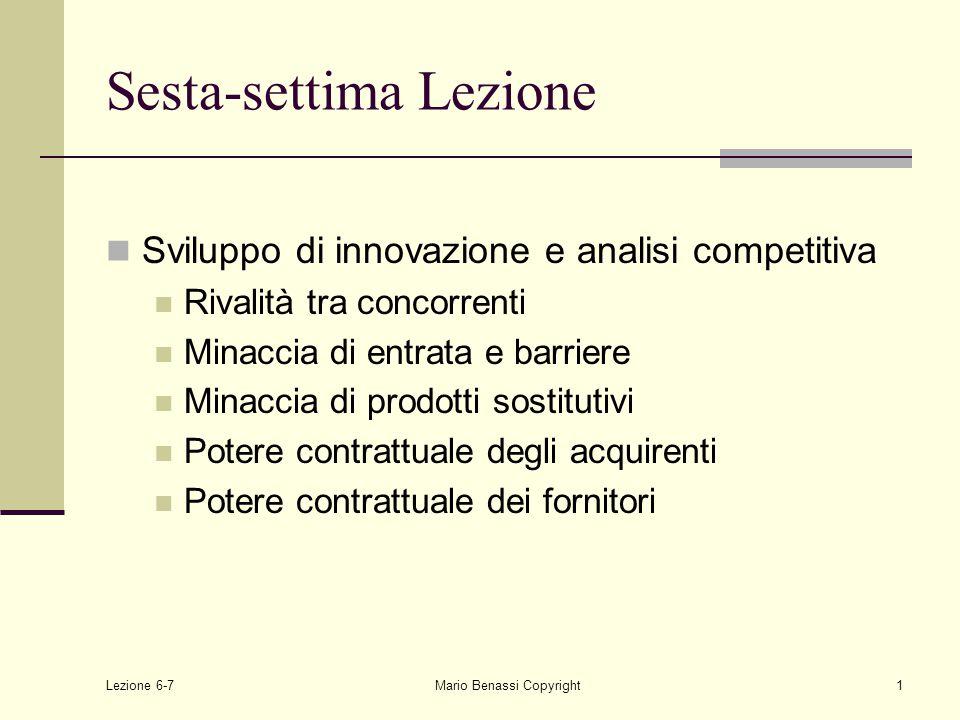 Lezione 6-7Mario Benassi Copyright1 Sesta-settima Lezione Sviluppo di innovazione e analisi competitiva Rivalità tra concorrenti Minaccia di entrata e barriere Minaccia di prodotti sostitutivi Potere contrattuale degli acquirenti Potere contrattuale dei fornitori
