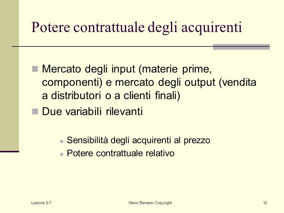 Lezione 6-7Mario Benassi Copyright12 Potere contrattuale degli acquirenti Mercato degli input (materie prime, componenti) e mercato degli output (vendita a distributori o a clienti finali) Due variabili rilevanti Sensibilità degli acquirenti al prezzo Potere contrattuale relativo