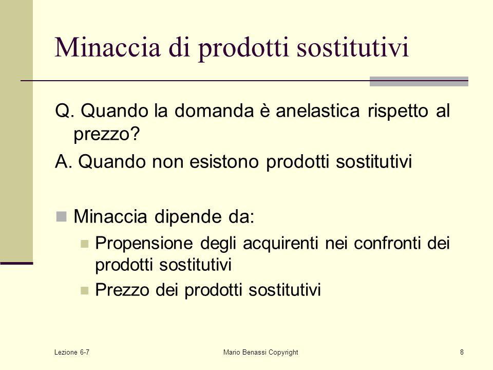Lezione 6-7Mario Benassi Copyright8 Minaccia di prodotti sostitutivi Q.