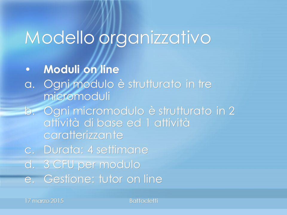 17 marzo 2015Battocletti Modello organizzativo Moduli on line a.Ogni modulo è strutturato in tre micromoduli b.Ogni micromodulo è strutturato in 2 attività di base ed 1 attività caratterizzante c.Durata: 4 settimane d.3 CFU per modulo e.Gestione: tutor on line Moduli on line a.Ogni modulo è strutturato in tre micromoduli b.Ogni micromodulo è strutturato in 2 attività di base ed 1 attività caratterizzante c.Durata: 4 settimane d.3 CFU per modulo e.Gestione: tutor on line