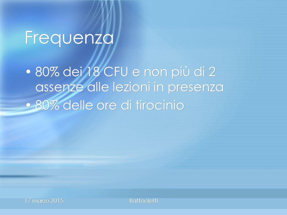 17 marzo 2015Battocletti Frequenza 80% dei 18 CFU e non più di 2 assenze alle lezioni in presenza 80% delle ore di tirocinio 80% dei 18 CFU e non più di 2 assenze alle lezioni in presenza 80% delle ore di tirocinio