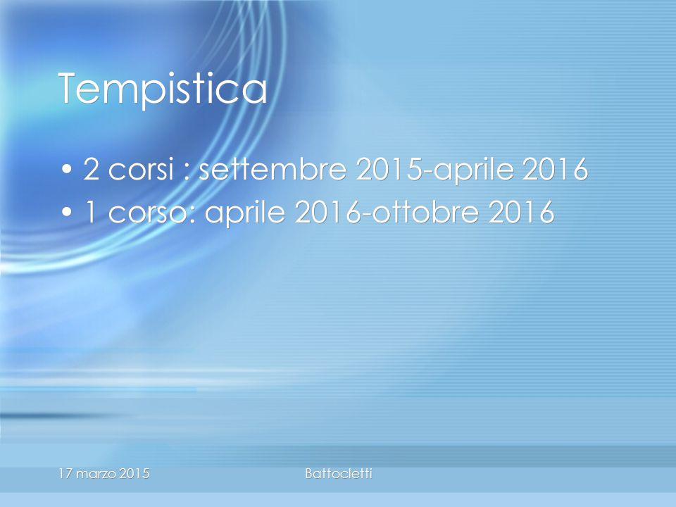 17 marzo 2015Battocletti Tempistica 2 corsi : settembre 2015-aprile 2016 1 corso: aprile 2016-ottobre 2016 2 corsi : settembre 2015-aprile 2016 1 corso: aprile 2016-ottobre 2016