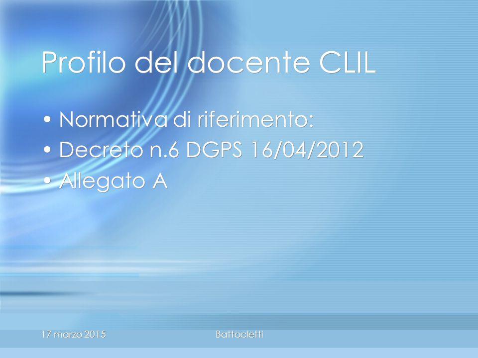 17 marzo 2015Battocletti Profilo del docente CLIL Normativa di riferimento: Decreto n.6 DGPS 16/04/2012 Allegato A Normativa di riferimento: Decreto n.6 DGPS 16/04/2012 Allegato A