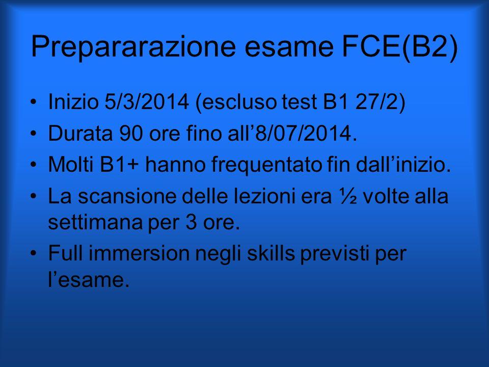 Prepararazione esame FCE(B2) Inizio 5/3/2014 (escluso test B1 27/2) Durata 90 ore fino all'8/07/2014.