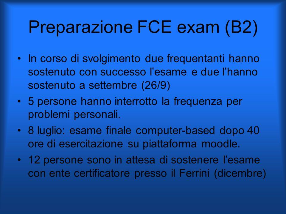 Preparazione FCE exam (B2) In corso di svolgimento due frequentanti hanno sostenuto con successo l'esame e due l'hanno sostenuto a settembre (26/9) 5 persone hanno interrotto la frequenza per problemi personali.