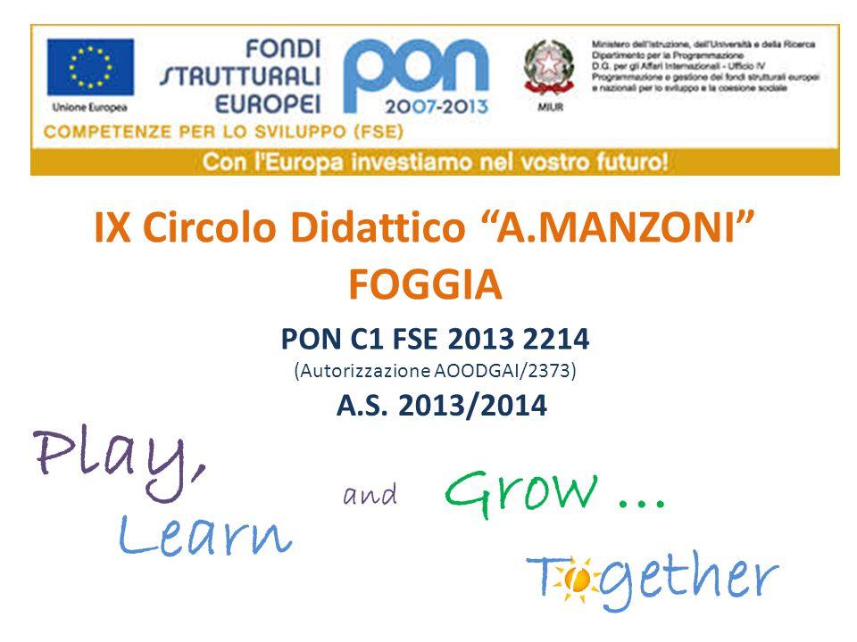 """IX Circolo Didattico """"A.MANZONI"""" FOGGIA PON C1 FSE 2013 2214 (Autorizzazione AOODGAI/2373) Play, Learn and Grow … Together A.S. 2013/2014"""
