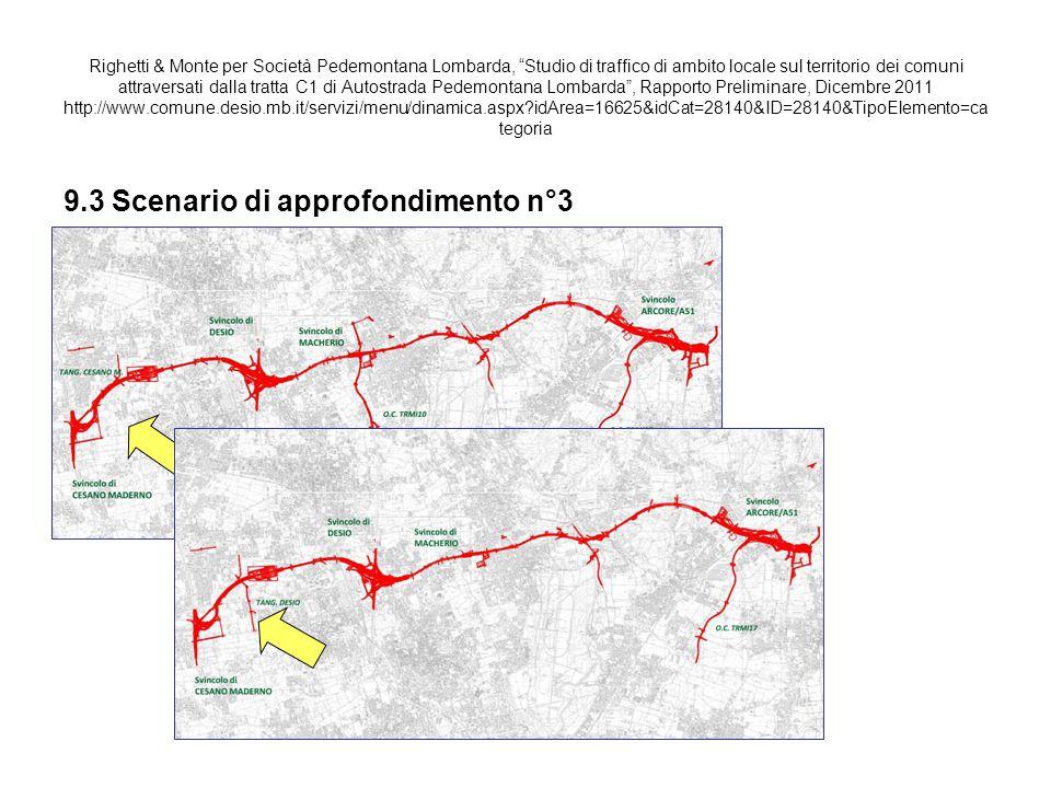 Tavola 9.28: SCENARIO APPROFONDIMENTO 3 - VISTA NORD OVEST - Flussi di traffico sulla rete viaria locale.