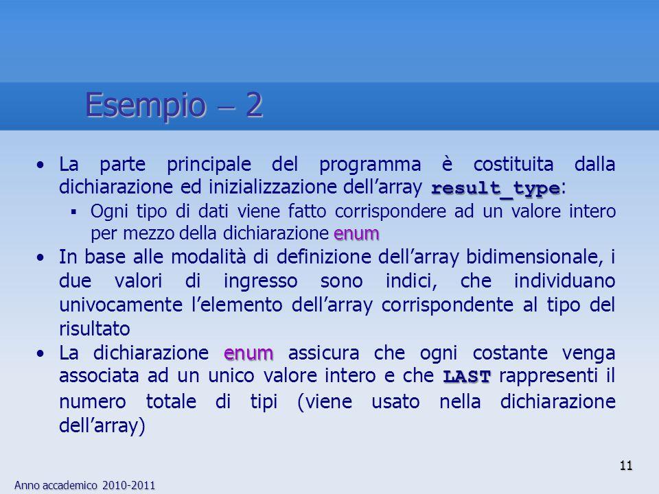 Anno accademico 2010-2011 12 La stessa dichiarazione (almeno per il compilatore) avrebbe potuto essere scritta per mezzo di interi char result_type[4][4]  {0,1,2,3,1,1,2,  1,2,2,2,  1,3,  1,  1,  2}; char result_type[4][4]  {0,1,2,3,1,1,2,  1,2,2,2,  1,3,  1,  1,  2}; diminuendo sensibilmente la comprensibilità e la mantenibilità del programma SPECIAL intNel caso SPECIAL, l'operazione è corretta solo se i puntatori riferiscono oggetti dello stesso tipo e l'operatore è il segno meno: il risultato è un int Esempio  3