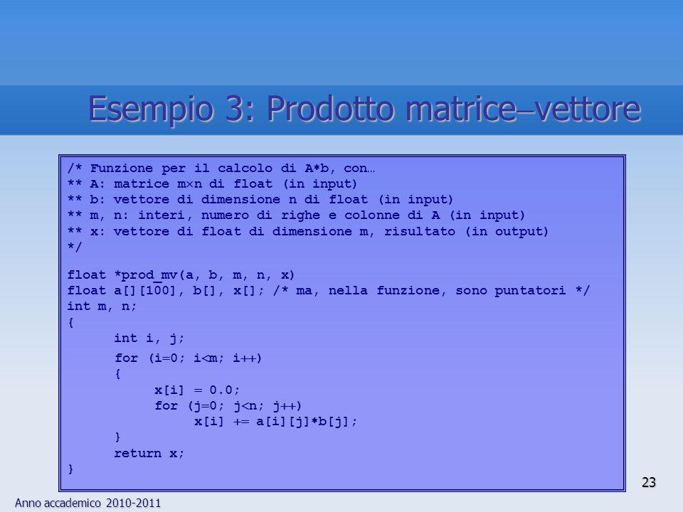Anno accademico 2010-2011 24 Esempio 4: Prodotto matrice  matrice ProblemaProblema Calcolo della matrice prodotto A  B, con A e B matrici rettangolari di dimensioni, rispettivamente, m  n e n  c  