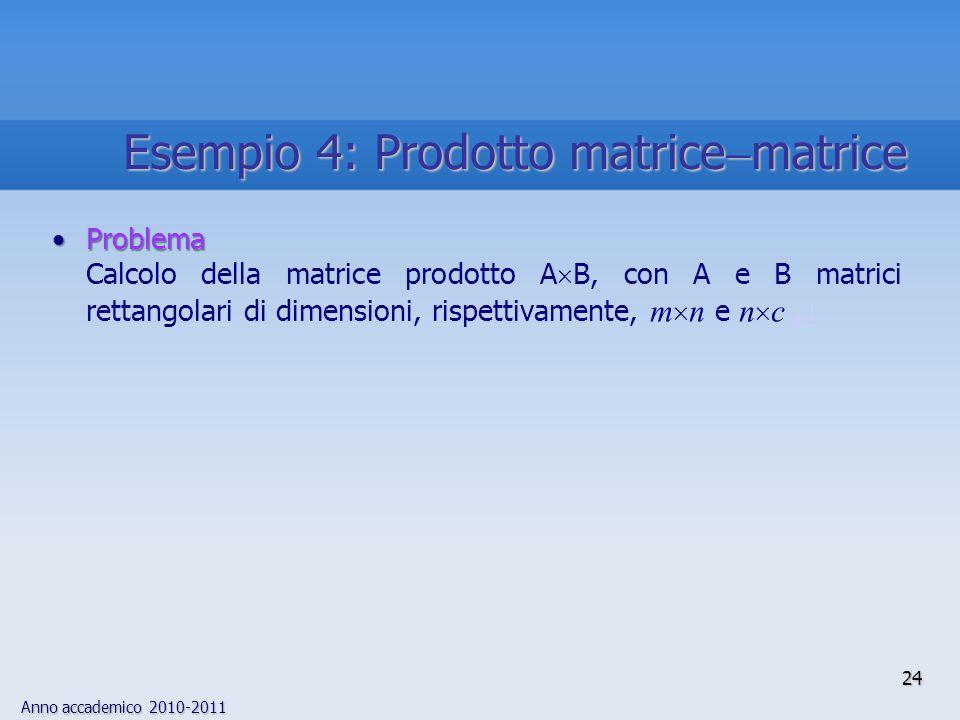 Anno accademico 2010-2011 24 Esempio 4: Prodotto matrice  matrice ProblemaProblema Calcolo della matrice prodotto A  B, con A e B matrici rettangola