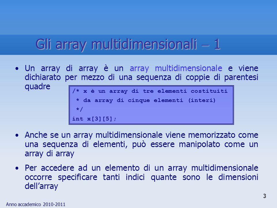 Anno accademico 2010-2011 3 array multidimensionaleUn array di array è un array multidimensionale e viene dichiarato per mezzo di una sequenza di copp