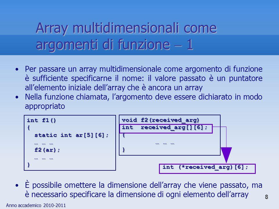 Anno accademico 2010-2011 9 Una modalità alternativa consiste nel passare esplicitamente un puntatore al primo elemento e la dimensione dell'array received_arg[x][y]Il vantaggio di questo approccio è la flessibilità: non occorre conoscere a priori la dimensione degli elementi dell'array; occorre però calcolare manualmente l'aritmetica degli indici: received_arg[x][y] è memorizzato all'indirizzo received_arg  x  dim2  y received_arg  x  dim2  y int f1() { static int ar[5][6]; static int ar[5][6]; … … … … … … f2(ar,5,6); f2(ar,5,6); … … … … … …} void f2(received_arg,dim1,dim2) int **received_arg; int dim1,dim2; { … … … … … …} puntatore a unpuntatore aint È un puntatore a un puntatore a int Array multidimensionali come argomenti di funzione  2