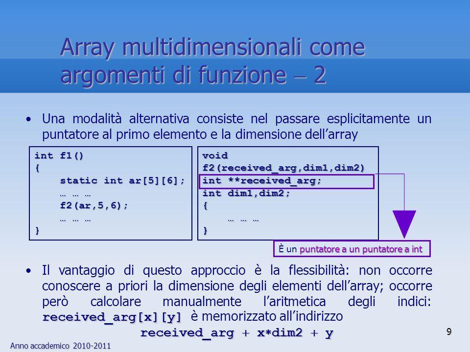 Anno accademico 2010-2011 10 Scrivere una funzione che determina il tipo del risultato di un'espressione binaria in base ai tipi degli operandi La funzione riceve due argomenti interi che rappresentano i tipi degli operandi e fornisce un intero che rappresenta il tipo del risultato  include typedef enum {SPECIAL  2, ILLEGAL, INT, FLOAT, DOUBLE, POINTER, LAST} TYPES; TYPES type_needed(type1,type2) TYPES type1, type2; { static TYPES result_type[LAST][LAST]  { /* intfloat doublepointer */ /*int*/ INT,FLOAT,DOUBLE,POINTER, /*float*/ FLOAT,FLOAT,DOUBLE,ILLEGAL, /*double*/ DOUBLE,DOUBLE,DOUBLE,ILLEGAL, /*pointer*/ POINTER,ILLEGAL,ILLEGAL,SPECIAL }; TYPES result  result_type[type1][type2]; if (result  ILLEGAL) printf( Operazione scorretta su puntatori\n ); return result; } Esempio  1