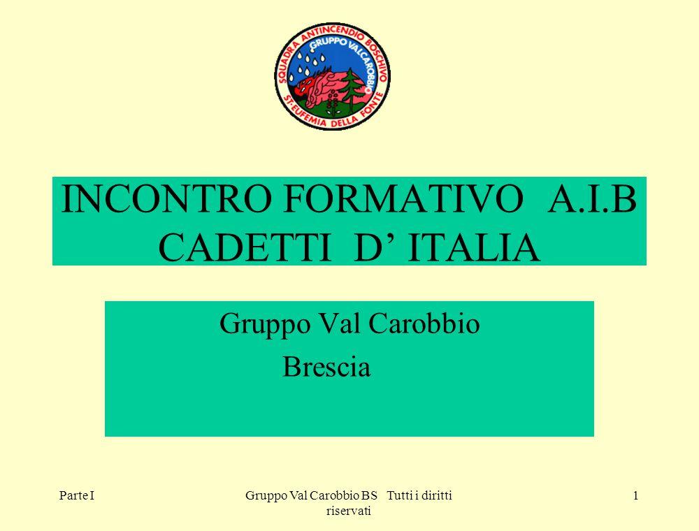 Parte IGruppo Val Carobbio BS Tutti i diritti riservati 1 INCONTRO FORMATIVO A.I.B CADETTI D' ITALIA Gruppo Val Carobbio Brescia