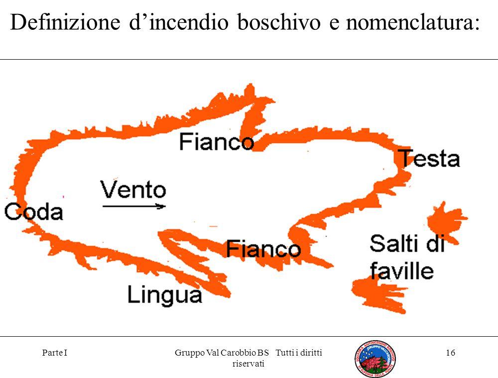Parte IGruppo Val Carobbio BS Tutti i diritti riservati 16 Definizione d'incendio boschivo e nomenclatura: