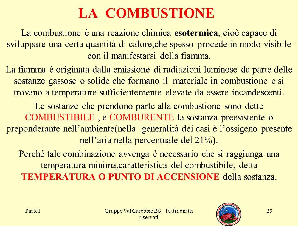 Parte IGruppo Val Carobbio BS Tutti i diritti riservati 29 LA COMBUSTIONE La combustione è una reazione chimica esotermica, cioè capace di sviluppare