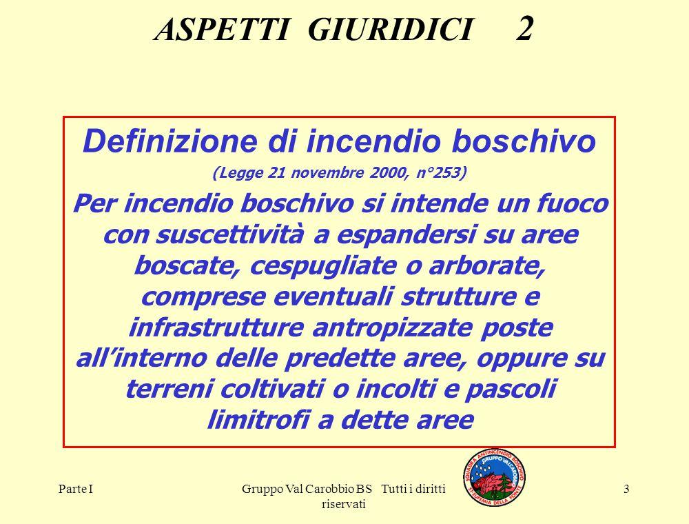 Parte IGruppo Val Carobbio BS Tutti i diritti riservati 3 ASPETTI GIURIDICI 2 Definizione di incendio boschivo (Legge 21 novembre 2000, n°253) Per inc