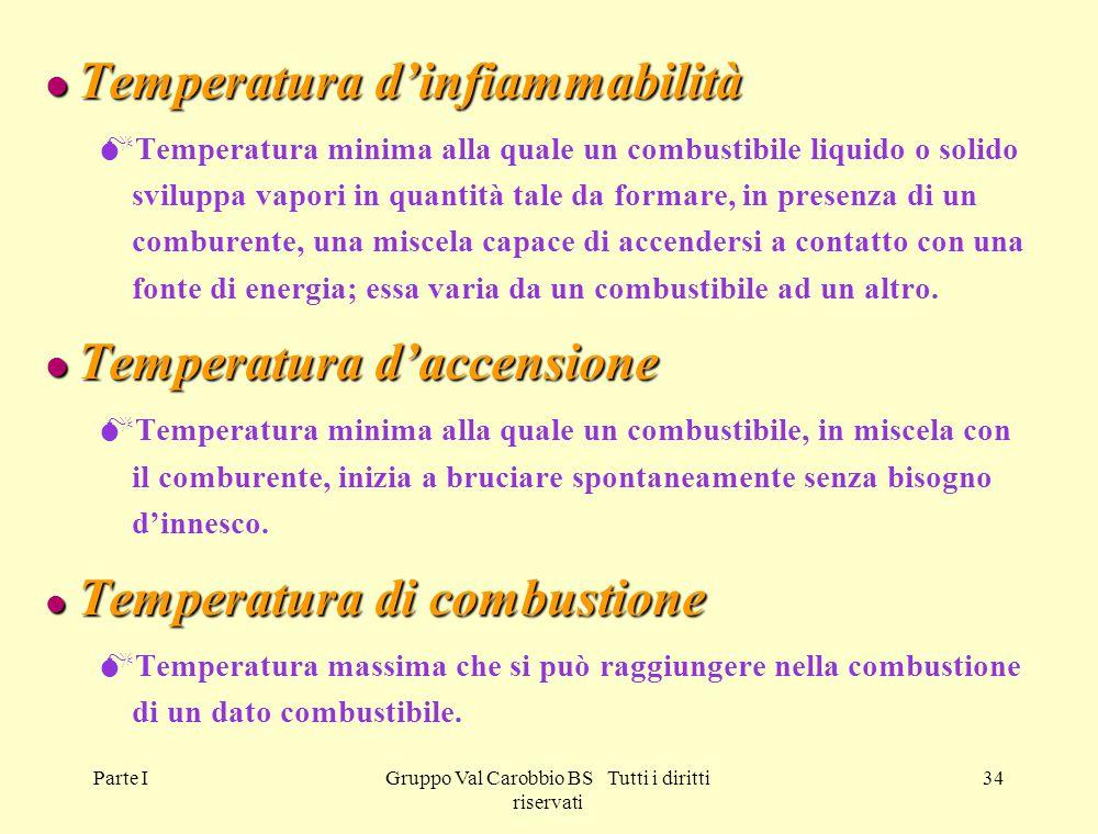 Parte IGruppo Val Carobbio BS Tutti i diritti riservati 34 l Temperatura d'infiammabilità  Temperatura minima alla quale un combustibile liquido o so