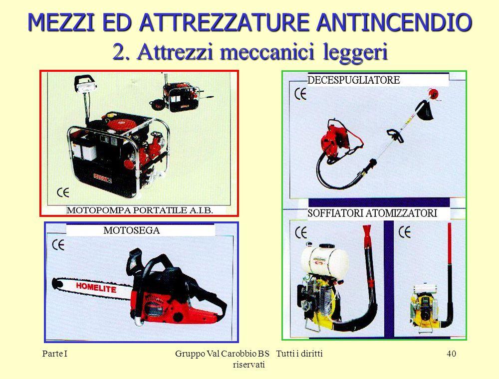 Parte IGruppo Val Carobbio BS Tutti i diritti riservati 40 MEZZI ED ATTREZZATURE ANTINCENDIO 2. Attrezzi meccanici leggeri