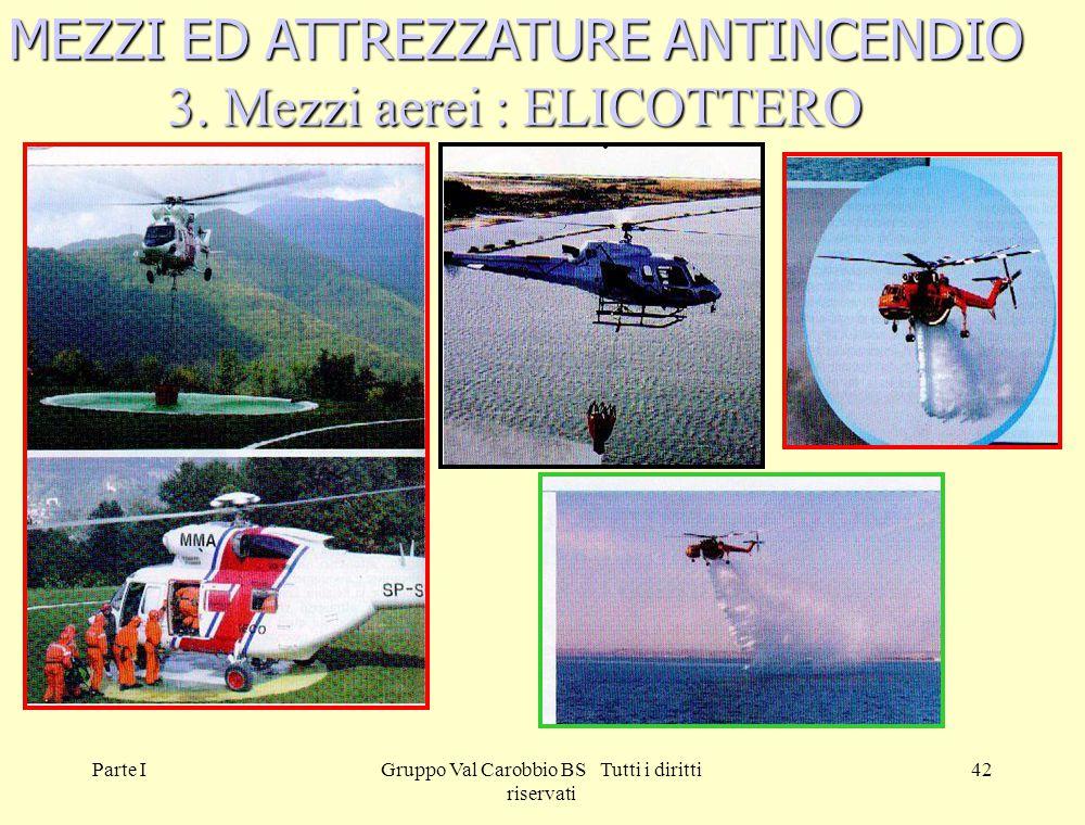 Parte IGruppo Val Carobbio BS Tutti i diritti riservati 42 MEZZI ED ATTREZZATURE ANTINCENDIO 3. Mezzi aerei : ELICOTTERO