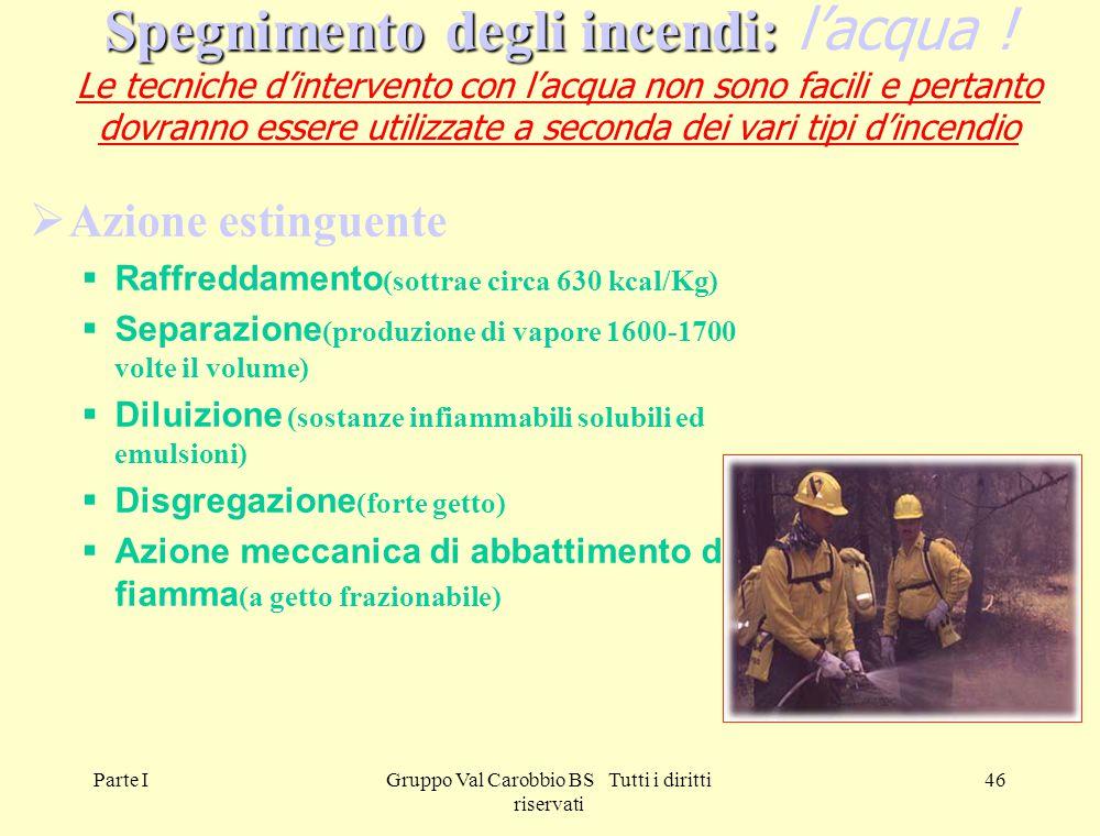 Parte IGruppo Val Carobbio BS Tutti i diritti riservati 46 Spegnimento degli incendi: Spegnimento degli incendi: l'acqua ! Le tecniche d'intervento co
