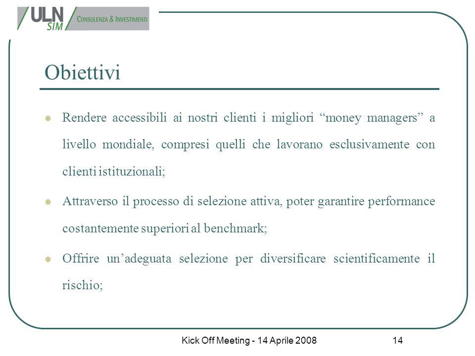 """Kick Off Meeting - 14 Aprile 2008 14 Obiettivi Rendere accessibili ai nostri clienti i migliori """"money managers"""" a livello mondiale, compresi quelli c"""