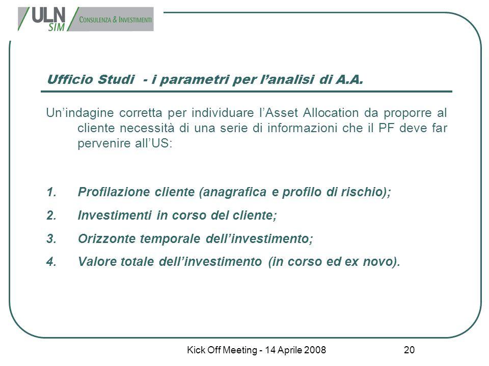 Kick Off Meeting - 14 Aprile 2008 20 Ufficio Studi - i parametri per l'analisi di A.A. Un'indagine corretta per individuare l'Asset Allocation da prop