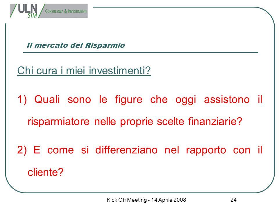 Kick Off Meeting - 14 Aprile 2008 24 Il mercato del Risparmio Chi cura i miei investimenti? 1) Quali sono le figure che oggi assistono il risparmiator