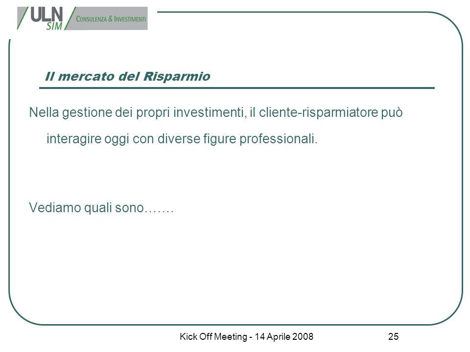 Kick Off Meeting - 14 Aprile 2008 25 Il mercato del Risparmio Nella gestione dei propri investimenti, il cliente-risparmiatore può interagire oggi con
