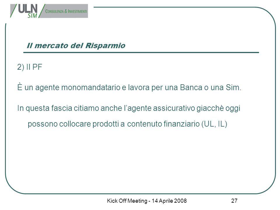 Kick Off Meeting - 14 Aprile 2008 27 Il mercato del Risparmio 2) Il PF È un agente monomandatario e lavora per una Banca o una Sim. In questa fascia c