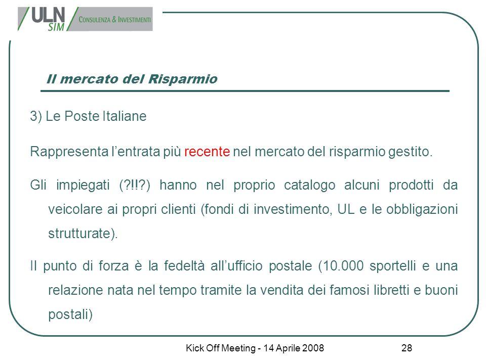 Kick Off Meeting - 14 Aprile 2008 28 Il mercato del Risparmio 3) Le Poste Italiane Rappresenta l'entrata più recente nel mercato del risparmio gestito