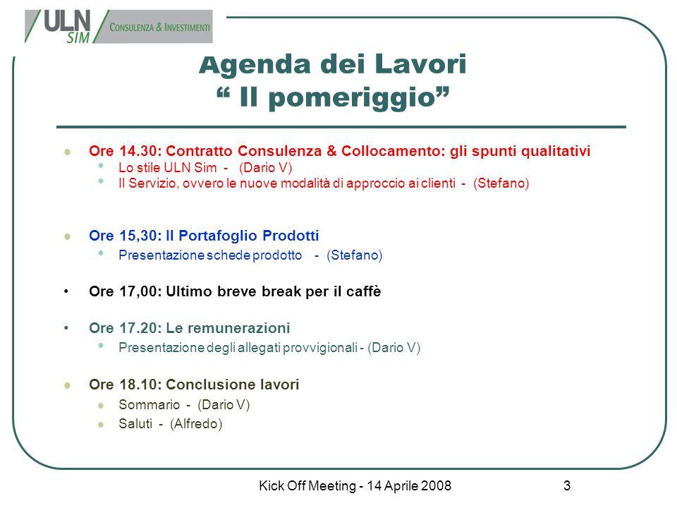 Kick Off Meeting - 14 Aprile 2008 4 Materiale per la riunione Copia delle presentazioni Copia delle schede prodotto Copia della modulistica Copia degli allegati provvigionali
