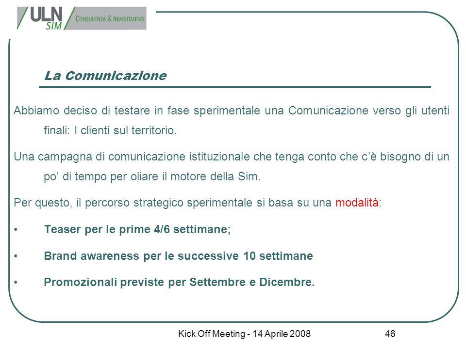 Kick Off Meeting - 14 Aprile 2008 46 La Comunicazione Abbiamo deciso di testare in fase sperimentale una Comunicazione verso gli utenti finali: I clie