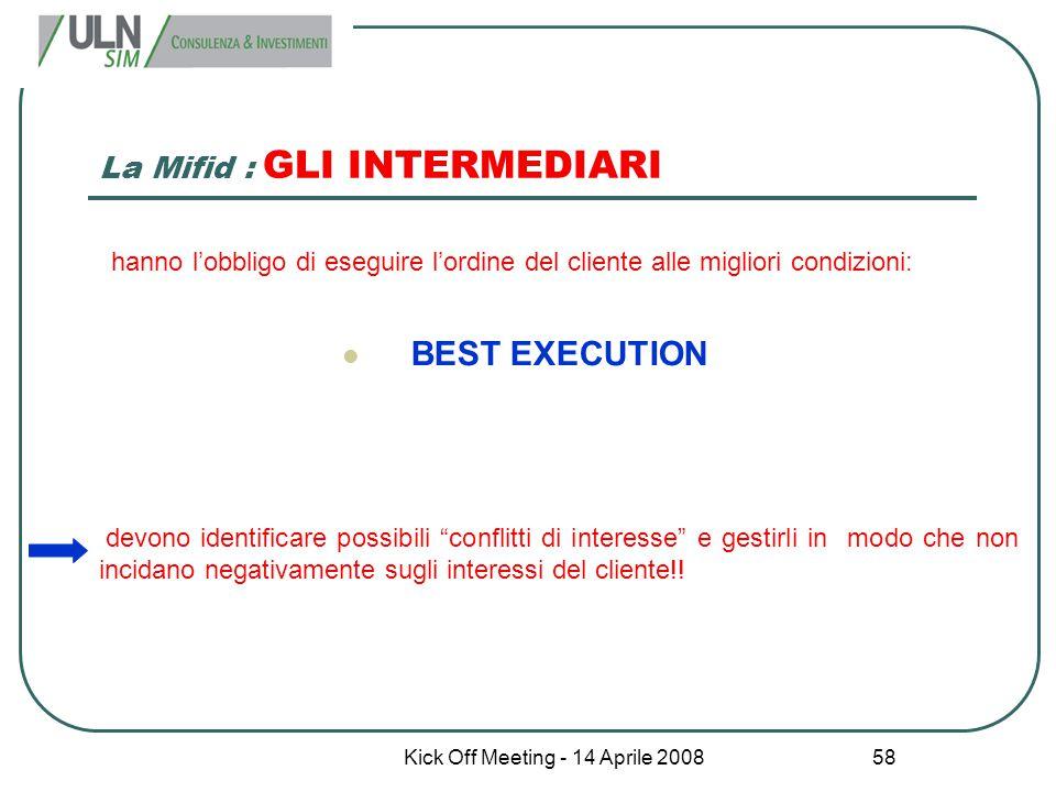 Kick Off Meeting - 14 Aprile 2008 58 La Mifid : GLI INTERMEDIARI hanno l'obbligo di eseguire l'ordine del cliente alle migliori condizioni: BEST EXECU