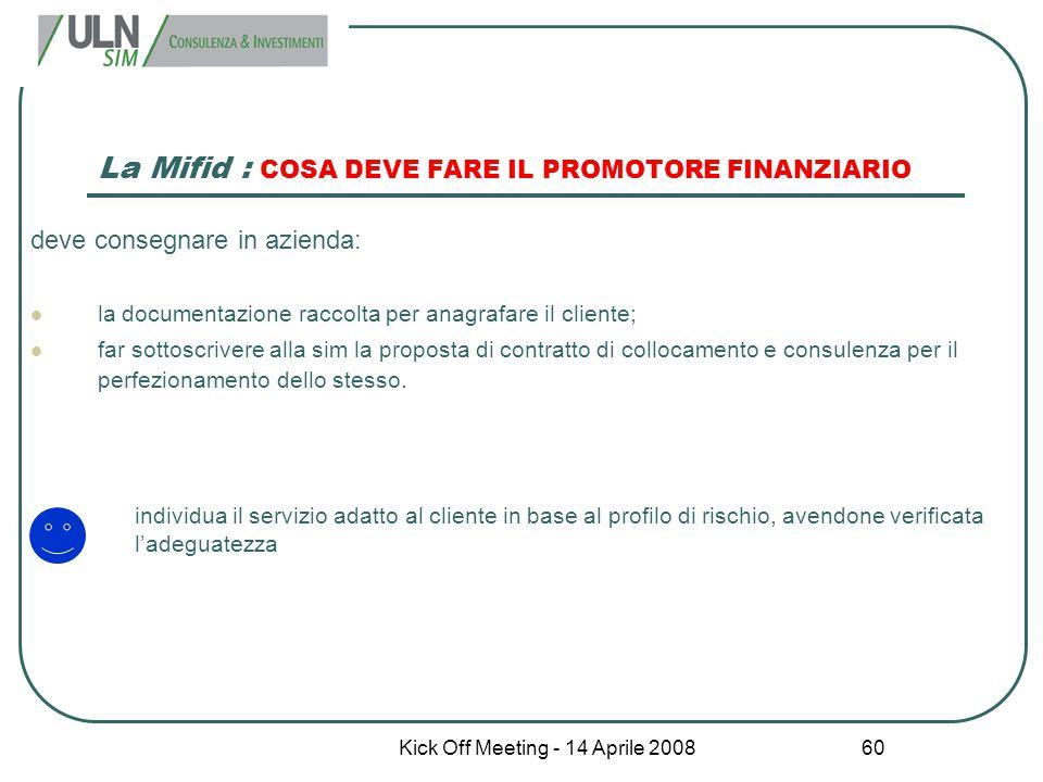 Kick Off Meeting - 14 Aprile 2008 60 La Mifid : COSA DEVE FARE IL PROMOTORE FINANZIARIO deve consegnare in azienda: la documentazione raccolta per ana