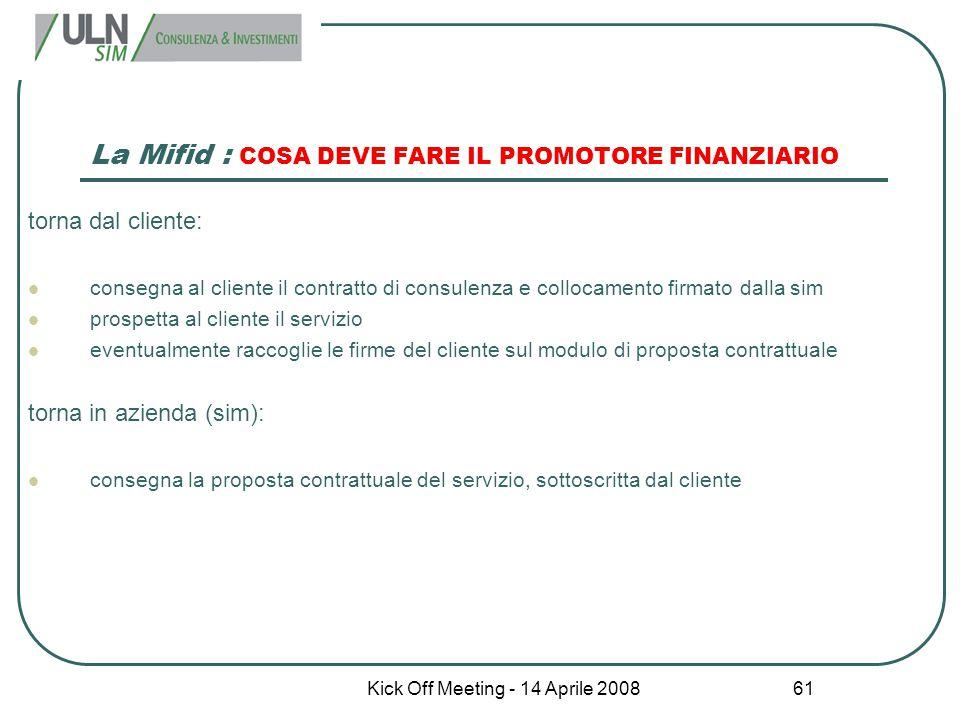 Kick Off Meeting - 14 Aprile 2008 61 La Mifid : COSA DEVE FARE IL PROMOTORE FINANZIARIO torna dal cliente: consegna al cliente il contratto di consule