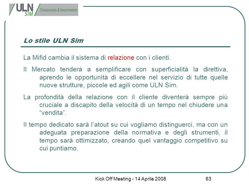 Kick Off Meeting - 14 Aprile 2008 63 Lo stile ULN Sim La Mifid cambia il sistema di relazione con i clienti. Il Mercato tenderà a semplificare con sup
