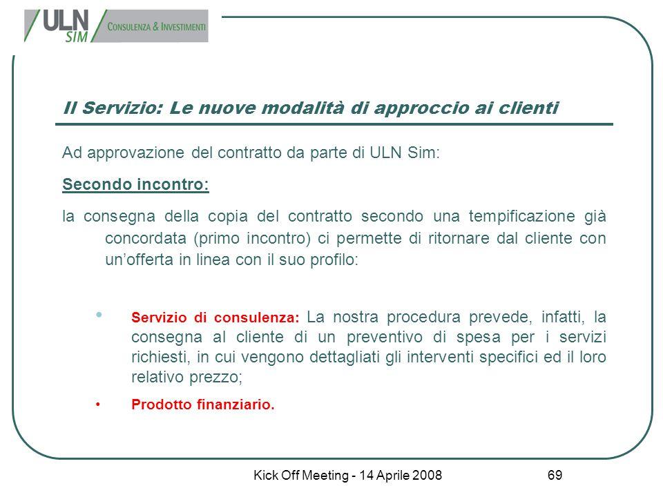 Kick Off Meeting - 14 Aprile 2008 69 Il Servizio: Le nuove modalità di approccio ai clienti Ad approvazione del contratto da parte di ULN Sim: Secondo