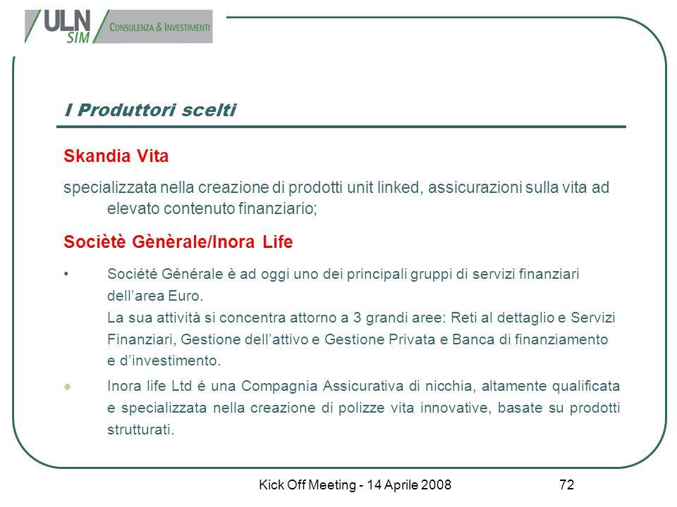 Kick Off Meeting - 14 Aprile 2008 72 I Produttori scelti Skandia Vita specializzata nella creazione di prodotti unit linked, assicurazioni sulla vita